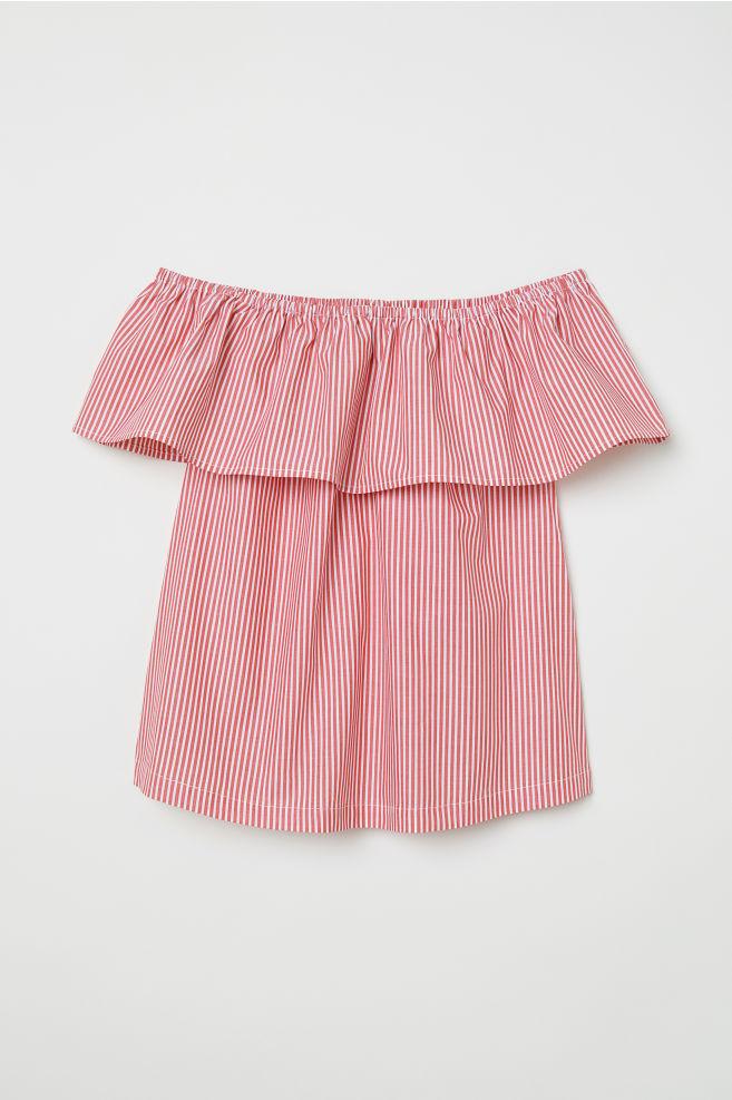 4f3d7e063e6364 Off-the-shoulder blouse - Red White striped - Ladies