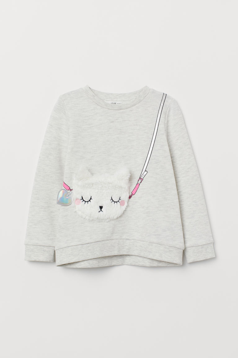 Appliquéd sweatshirt - Light grey/Cat - Kids | H&M