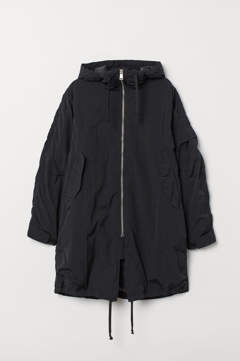 Padded parka with a hood - Black - Men | H&M CN