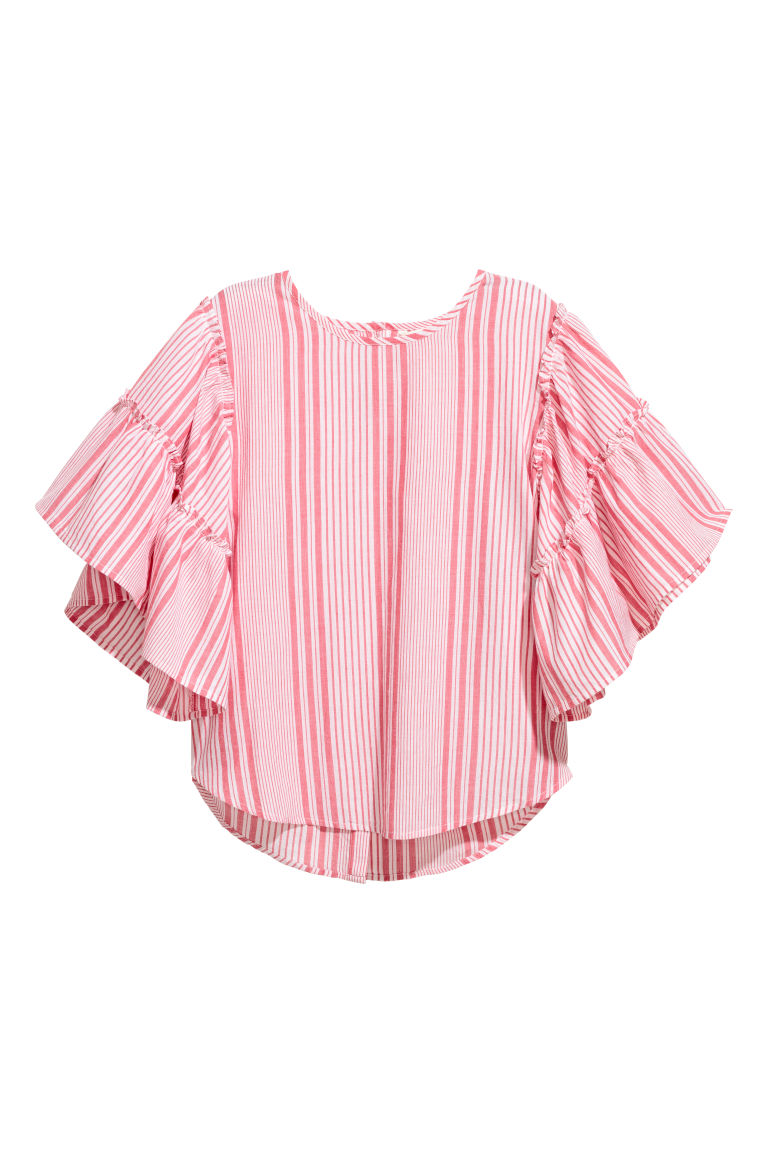 Blouse with flounced sleeves - Red/White striped - Ladies | H&M