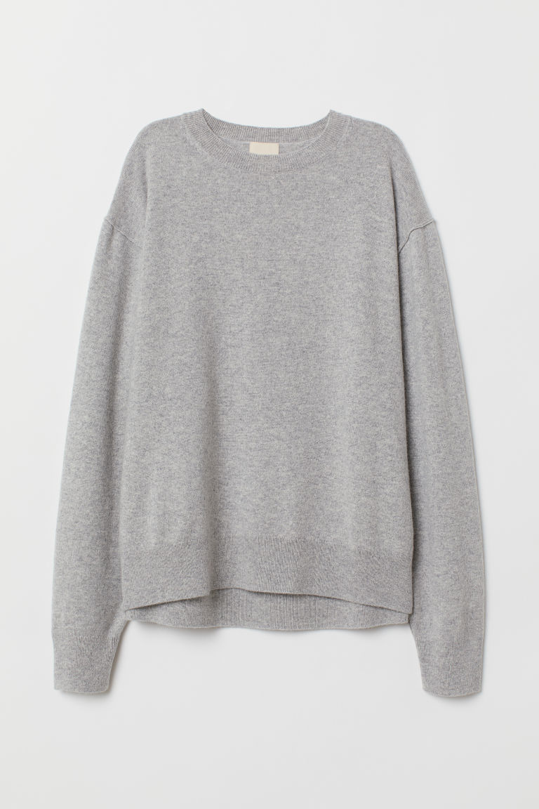 Fine-knit cashmere jumper - Light grey marl - Ladies | H&M CN
