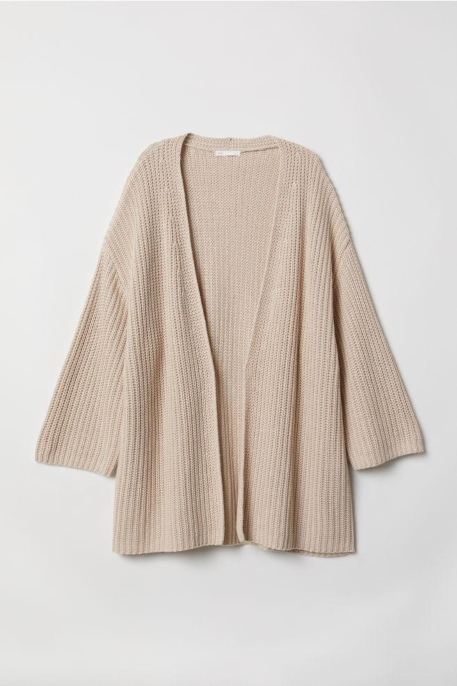 Rib-knit Cardigan - Light beige - Ladies  58c08b420