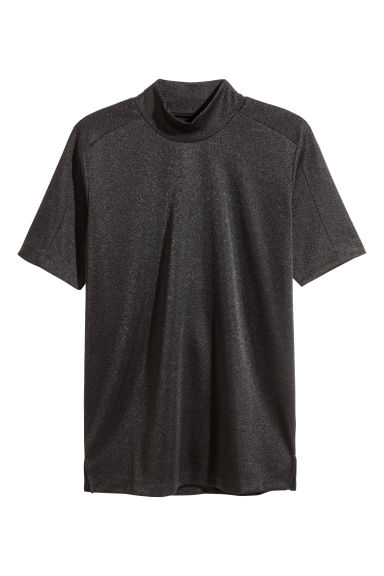 Turtleneck T-shirt - Black/Glittery - Men | H&M