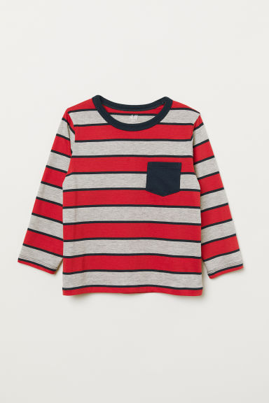 Jerseyshirt - Knallrot/Grau gestreift - Kids | H&M AT