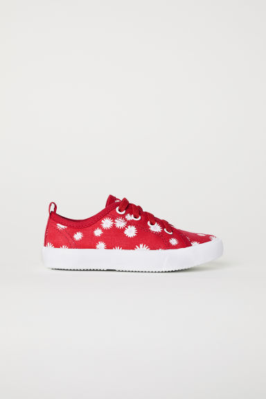 Canvas trainers - Red/Floral - Kids | H&M CN