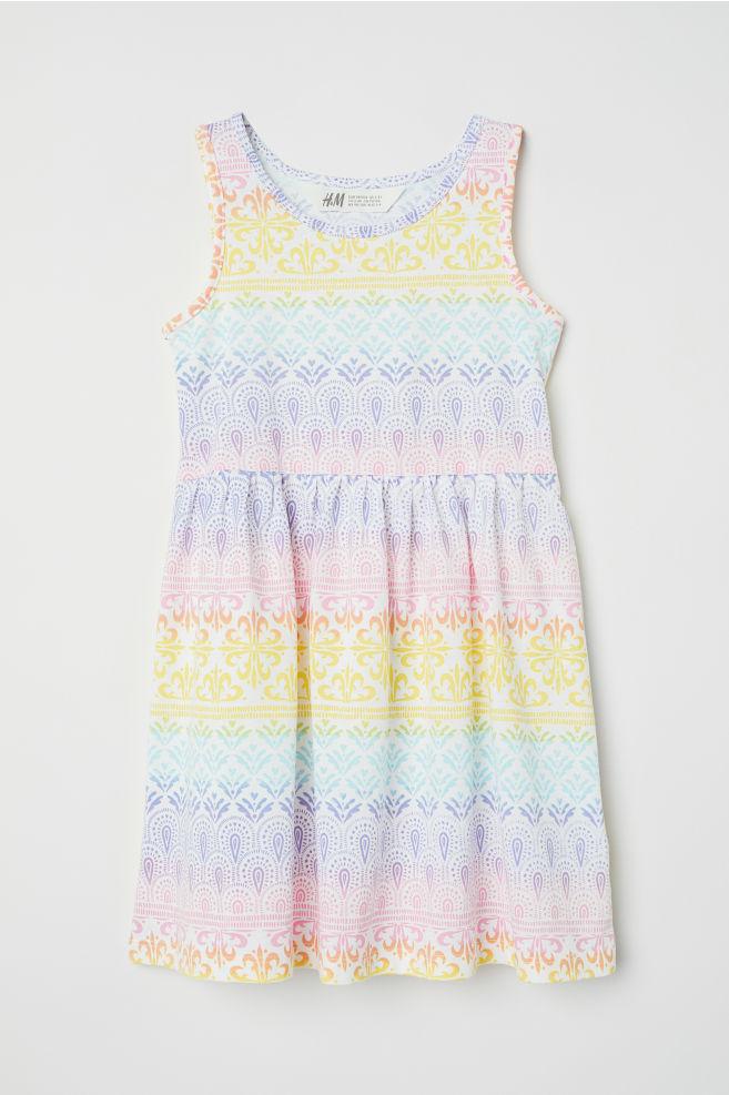 c70937e527e5f Sleeveless jersey dress - White/Rainbow-coloured - Kids   H&M ...
