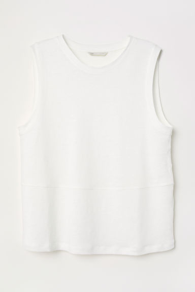 Linen-blend jersey vest top - White - Ladies | H&M