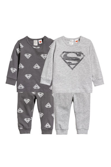 Pyjamas en jersey, lot de 2 - Gris/Superman - ENFANT | H&M FR