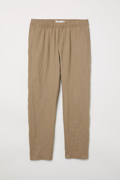 Linen-blend trousers - Dark beige - Men | H&M