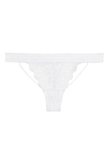 Lace thong briefs - White - Ladies | H&M CN