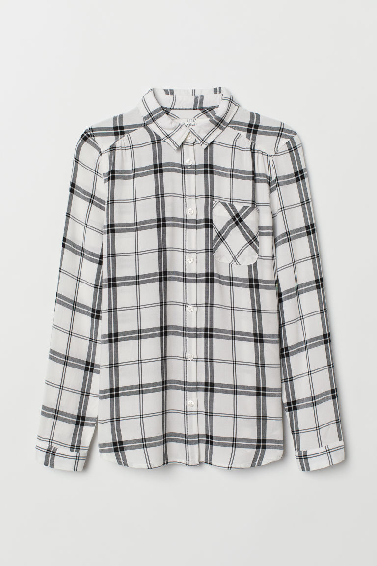 Viscose shirt - White/Black checked - Kids | H&M GB