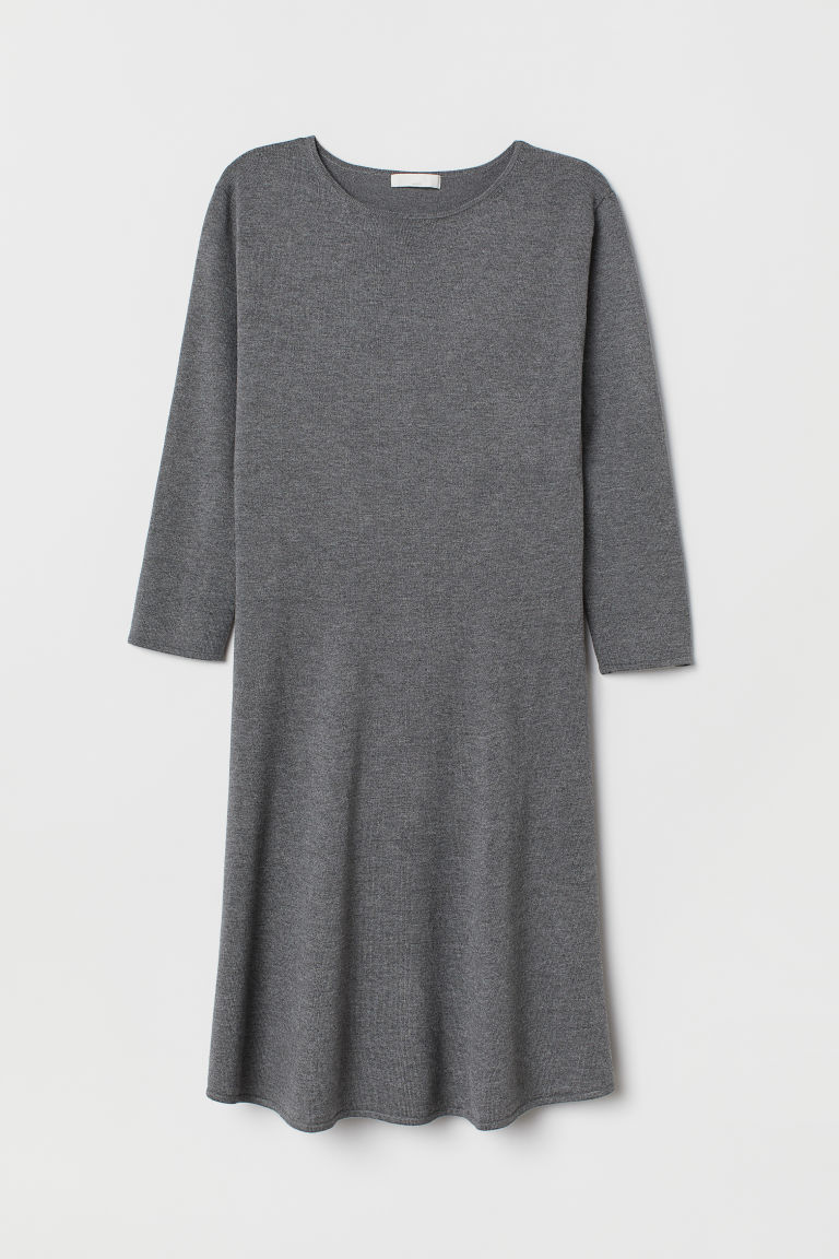 Fine-knit Dress - Dark gray melange - Ladies | H&M US