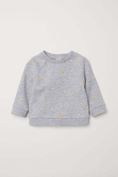 Sweatshirt with embroidery - Grey marl/Sunbursts -  | H&M CN