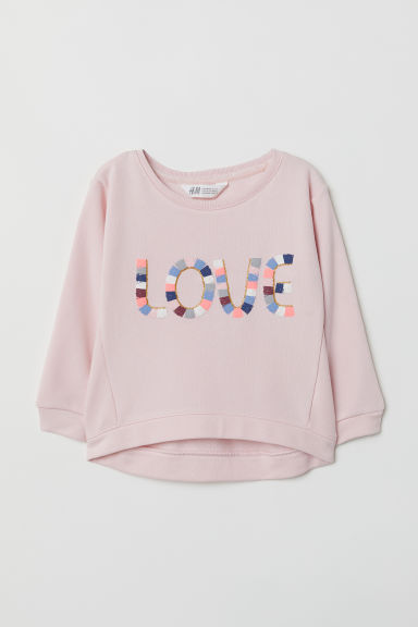 Sweatshirt with a motif - Light pink/Love - Kids | H&M