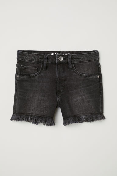 Denim shorts High - Black washed out - Kids | H&M CN
