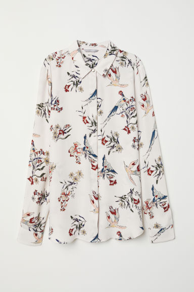 Long-sleeved blouse - Light beige/Birds - Ladies | H&M