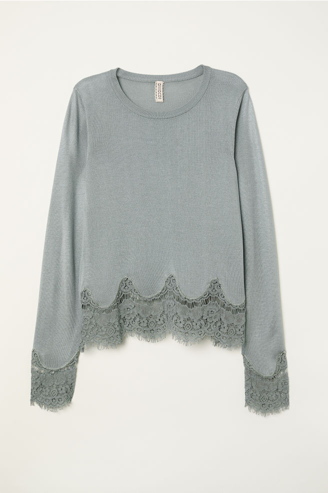 Jumper with lace details - Dusky green - Ladies  8a4f9b3c6