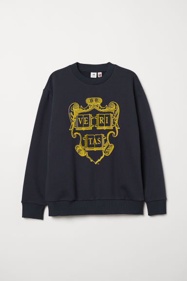 Flock-print sweatshirt - Dark blue -  | H&M