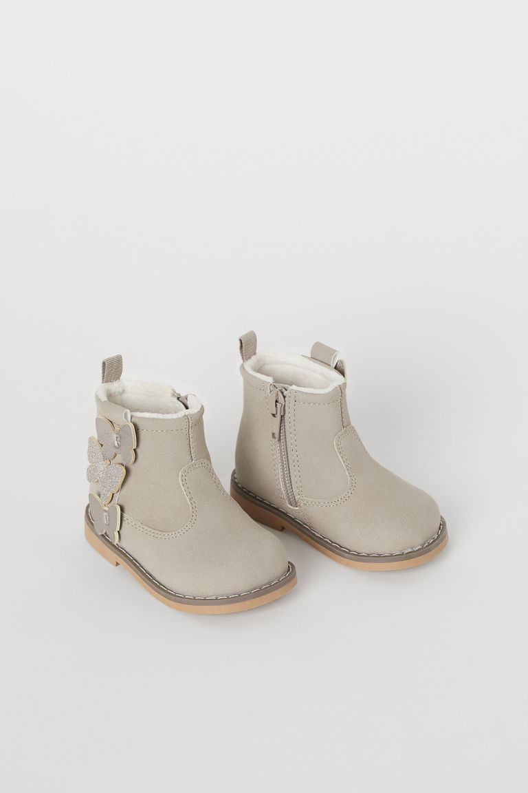 Warm-lined Boots - Light taupe/butterflies - Kids | H&M US