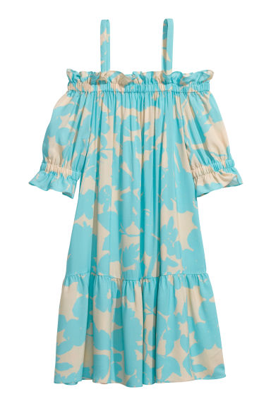 Cold shoulder dress - Turquoise/Patterned -  | H&M