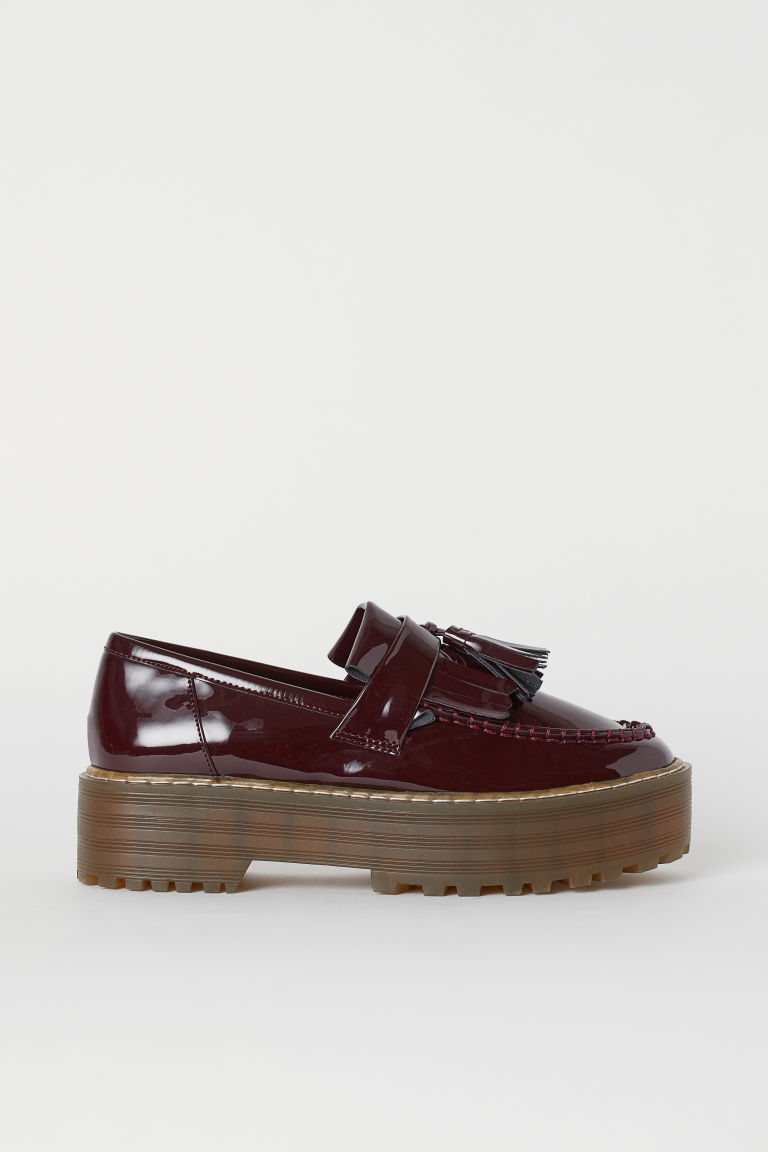 Platform loafers - Burgundy -  | H&M