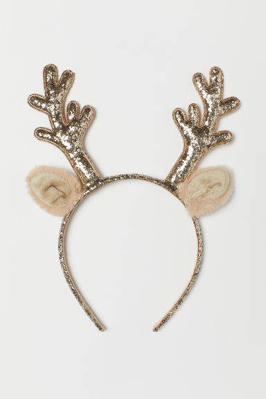 Alice band with appliqués - Gold-coloured/Antlers -  | H&M CN