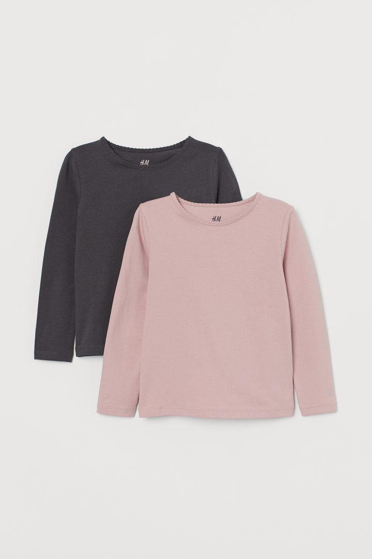 2-pack long-sleeved tops - Dusky pink/Dark grey - Kids | H&M IN
