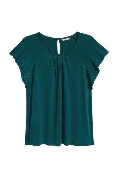 H&M+ Short-sleeved top - Dark green - Ladies | H&M