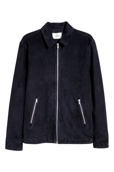 Suede shirt jacket - Dark blue - Men | H&M CN