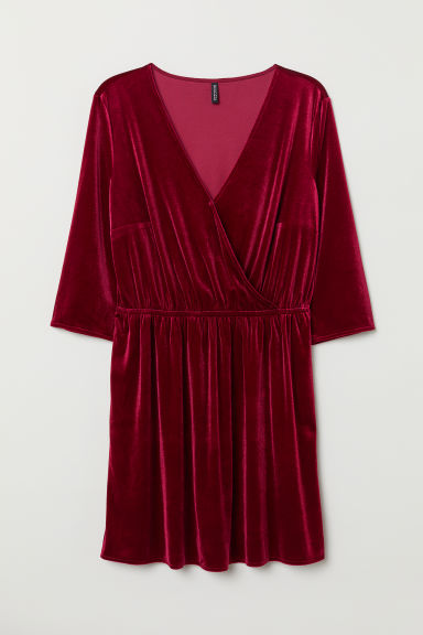 Short Velvet Dress - Burgundy - Ladies | H&M CA