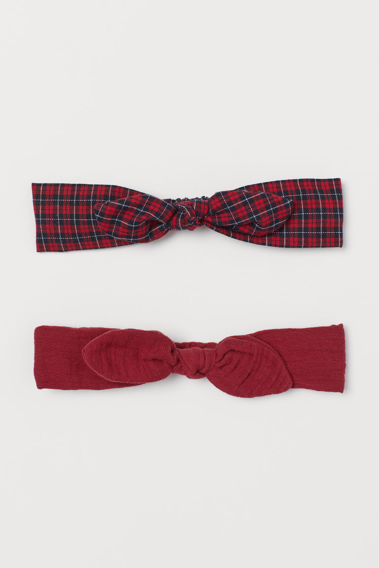 2-pack Hairbands with Bow - Red/plaid - Kids | H&M CA