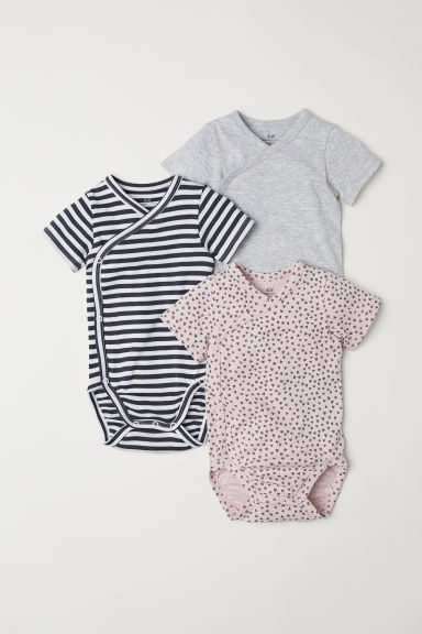 3-pack wrapover bodysuits - Powder pink/Hearts - Kids | H&M CN