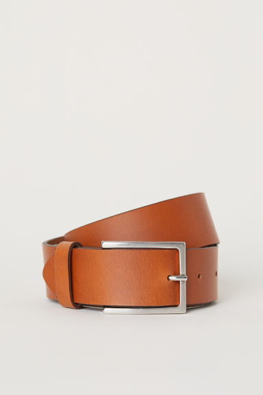 Leather belt - Cognac brown -  | H&M