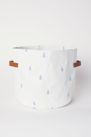 Canvas storage basket - White/Raindrops - Home All | H&M CN