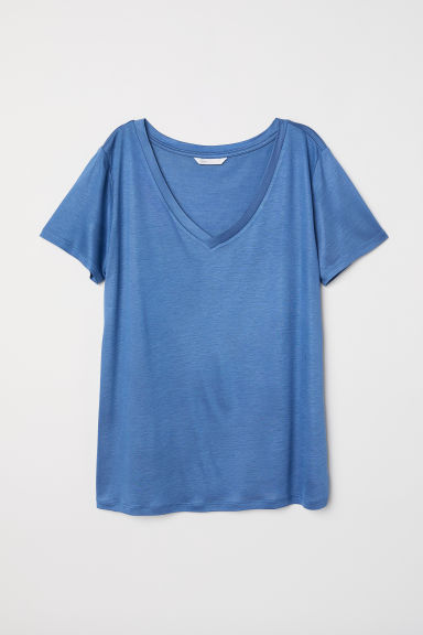 V-neck T-shirt - Pigeon blue - Ladies | H&M CN