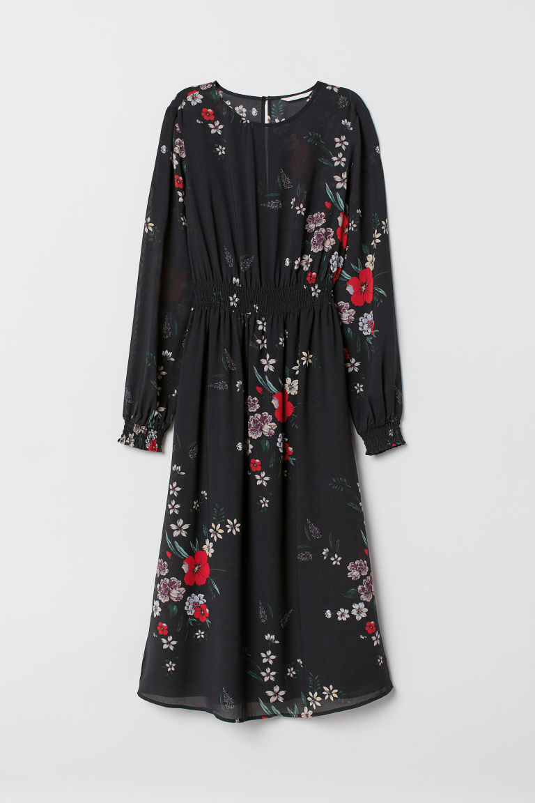 Patterned dress - Black/Floral - Ladies | H&M CN