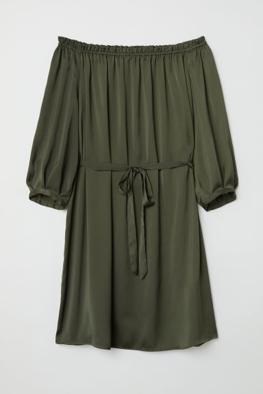 Off-the-shoulder dress - Dark khaki green - Ladies | H&M CN