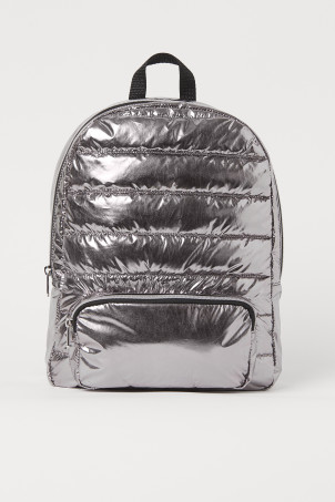 Shimmering metallic backpack