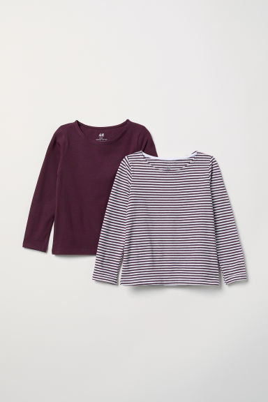 2-pack long-sleeved tops - White/Burgundy striped -  | H&M IE