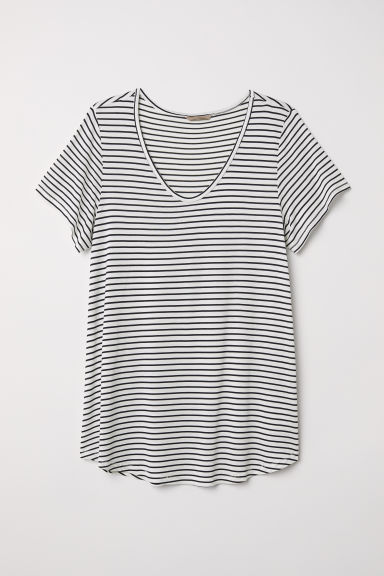 H&M+ Top in jersey - Bianco/blu scuro - DONNA | H&M IT