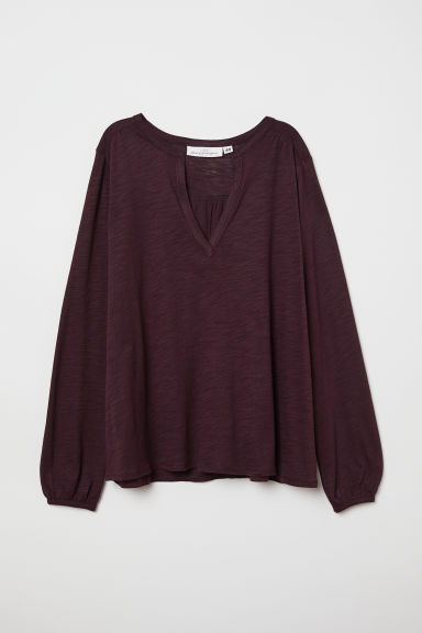 V-neck jersey blouse - Burgundy - Ladies | H&M CN