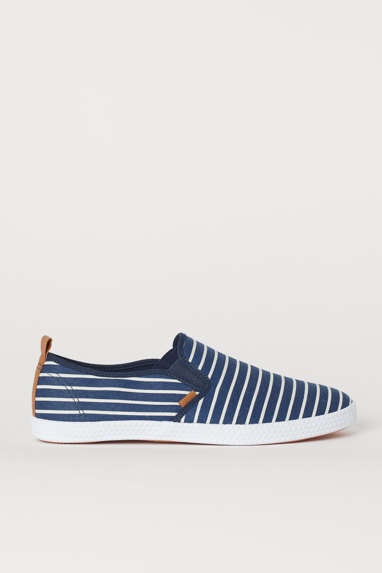 Slip-on trainers - Dark blue/White striped - Men | H&M CN