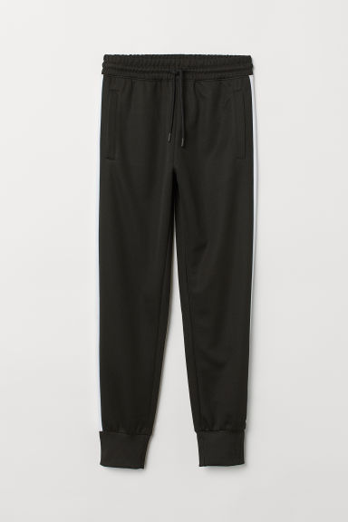 Side-striped sports trousers - Black/White -  | H&M