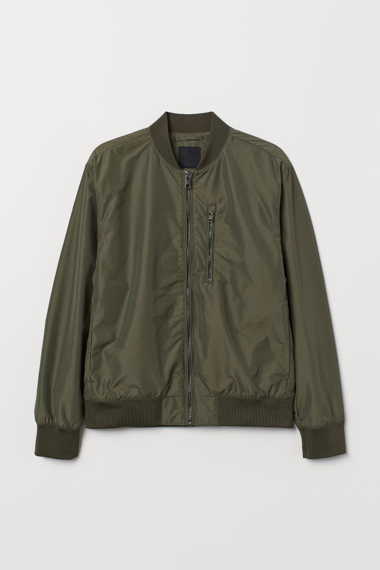Nylon-blend Bomber Jacket - Khaki green - Men | H&M CA