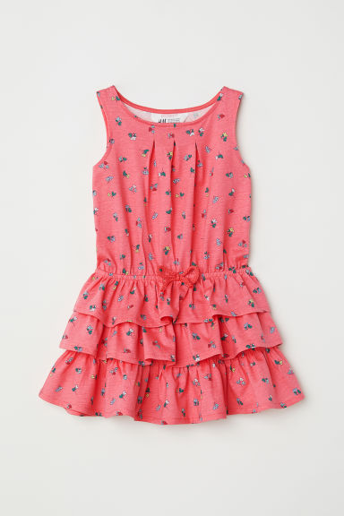 Tiered jersey dress - Raspberry pink/Floral - Kids | H&M CN