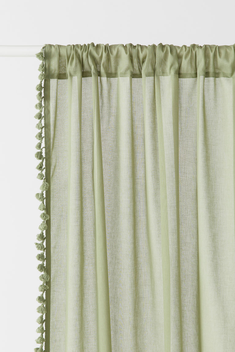 2-pack Tasseled Curtain Panels - Green - Home All | H&M CA