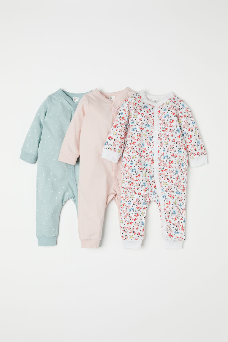 3-pack Cotton Jumpsuits - Turquoise/hearts - Kids | H&M US