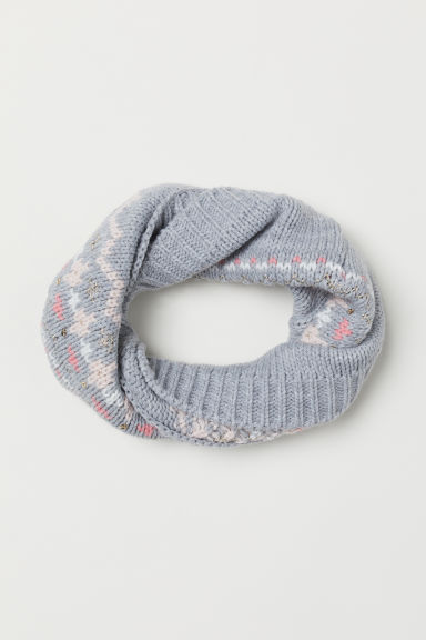 Knitted tube scarf - Grey marl -  | H&M