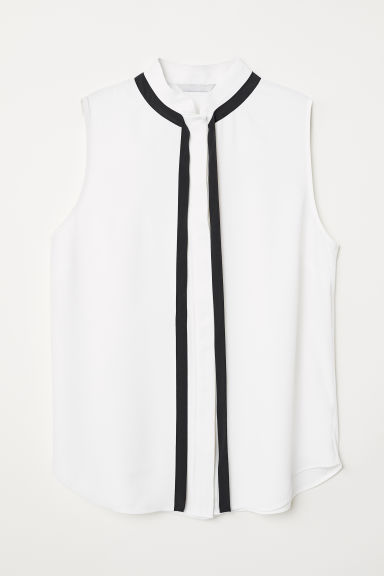 Blouse with ties - White - Ladies | H&M CN