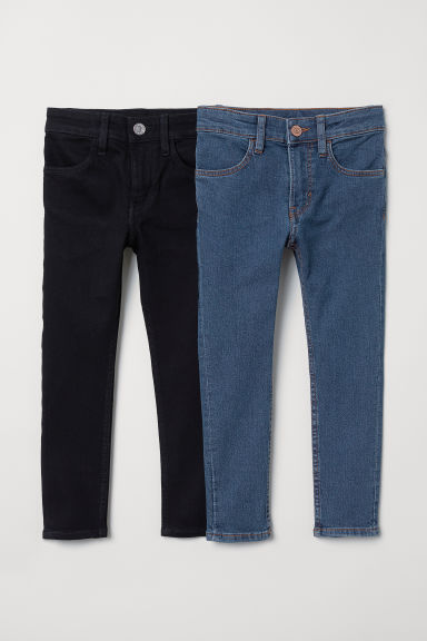 2-pack Skinny Fit Jeans - Denim blue/Black - Kids | H&M CN